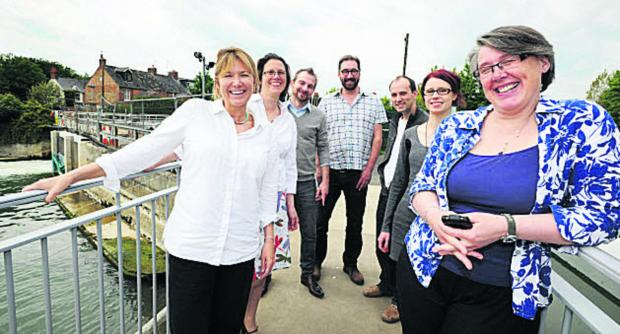 Oxford Mail: Saskya Huggins, second from left, with other members of the Osney Lock Hydro group.