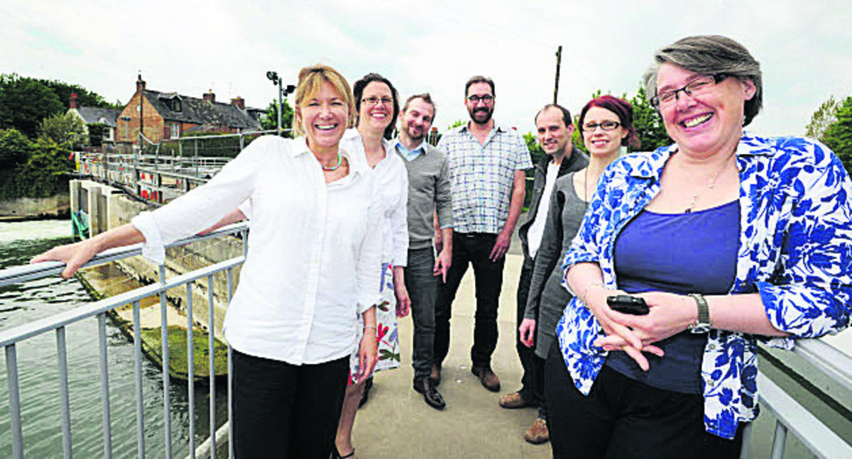Saskya Huggins, second from left, with other members of the Osney Lock Hydro group.