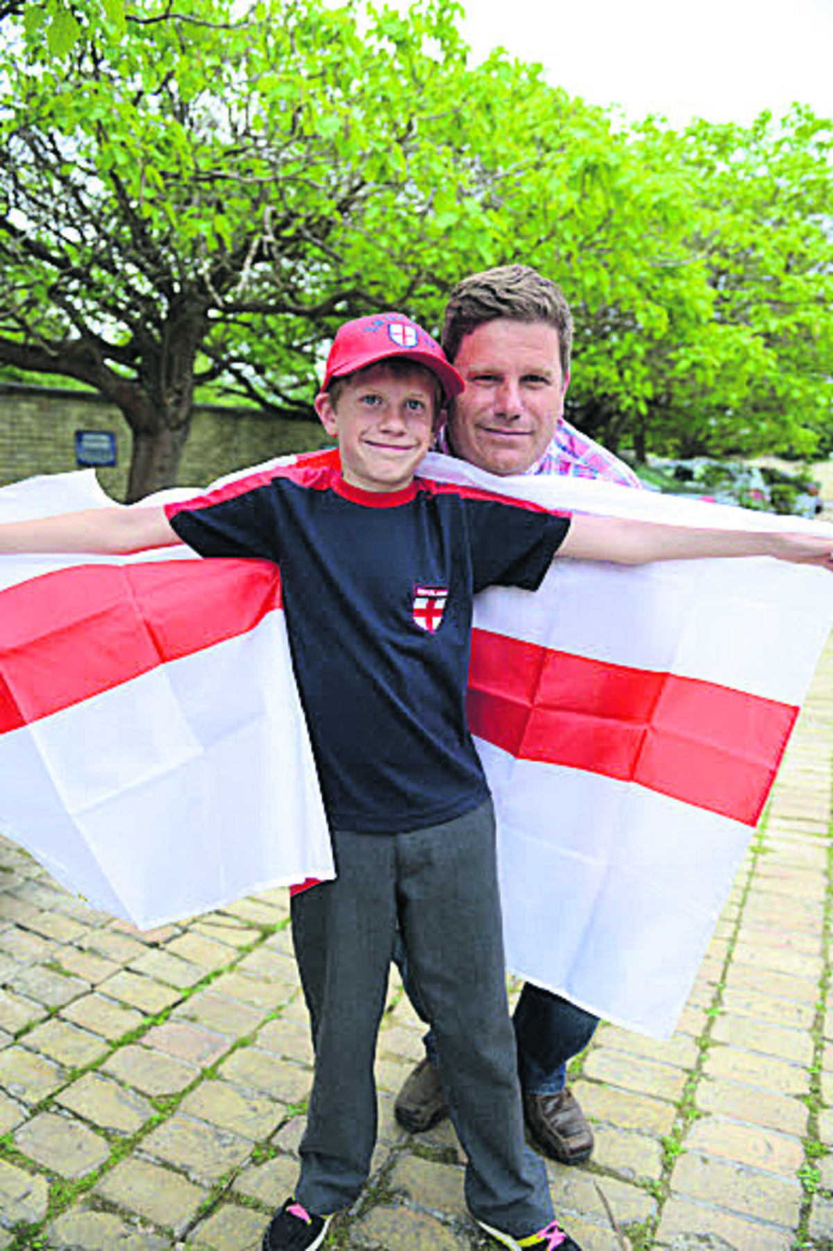 Darren Bungay and his son Richard, 11.