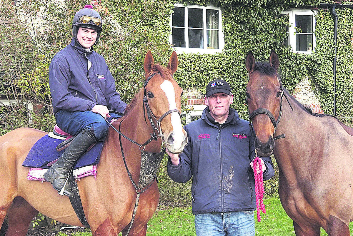 Alan Hill (centre) with Harbour Court and Dan Collins on top (left) and Ravethebrave, who both contributed to the    trainer's championship-winning tally of 27 victories