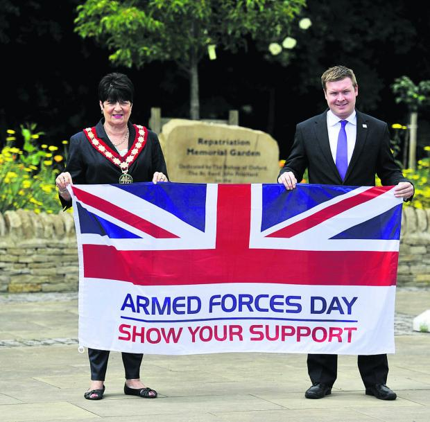 Carterton Mayor Lynn Little with the town's Armed Forces Day event organiser Liam Walker            Picture: OX67816 Mark Hemsworth