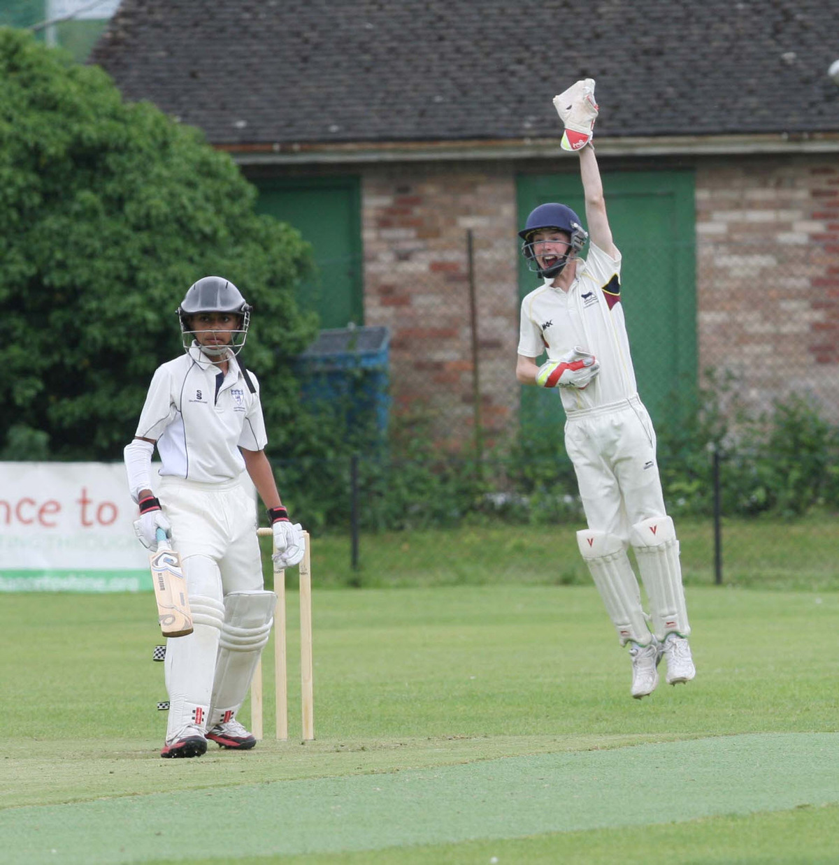 Oxfordshire Under 13s wicket-keeper Jake Taylor appeals unsuccessfully for lbw against Bedfordshire captain Rahul Sheemar