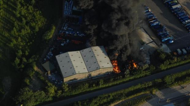 The fire at Grundon, taken by the NPAS police helicopter