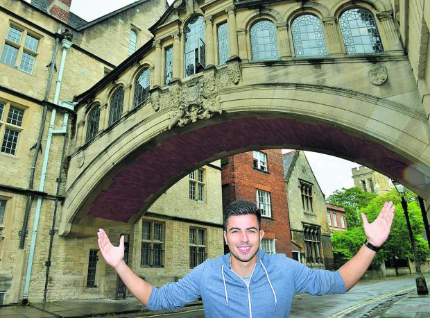 Oxford Mail: Felipe Barcelos pictured at the city's Bridge of Sighs