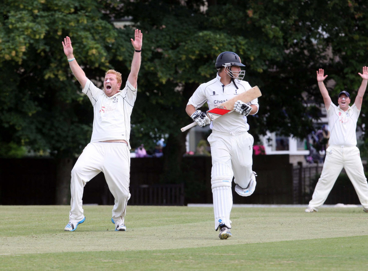 Horspath paceman Pat Foster shouts unsuccessfully for lbw against Chesham opener Andy Goddard with skipper Will Eason in the background joining in