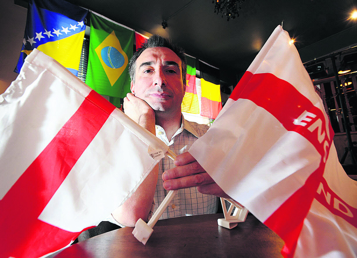 Massimo Tenaglia, manager of Eurobar in George Street, knows England's early exit from the World Cup will mean a falling off in the feverish trade of the first two matches for the national team. Picture: OX68152 Jon Lewis