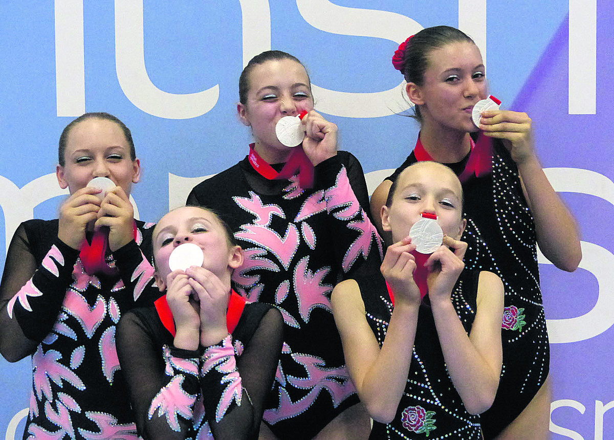 Oxford gymnasts (from left): Aysha Hutter, Charlotte Billington, Elspeth Jackson, Lucy Kavanagh and Ashley De La Haye celebrate