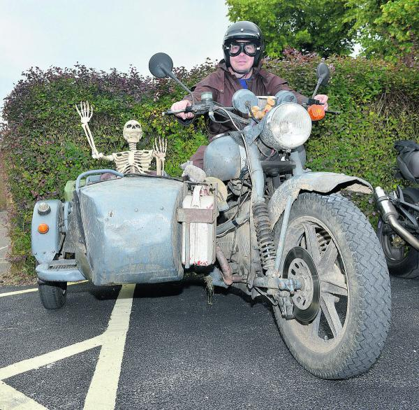 Luke Whiting brings a 'friend' along in his Russian sidecar