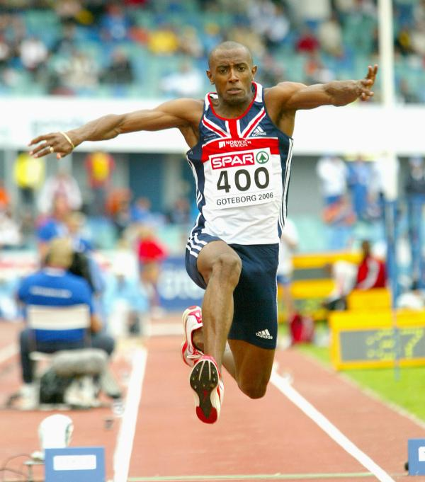 Nathan Douglas leaps to a silver medal at the 2006 European Championships