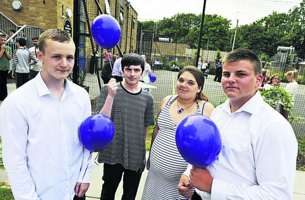 Perry Kerslake, Ben Costley, Nicole Smith and Kieran Butler at the balloon release for Liberty Baker