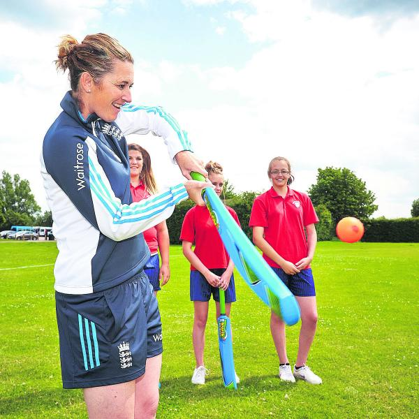 England ladies captain Charlotte Edwards gives out some batting tips