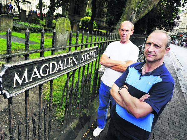 From left, Benny Malliagh and Gary Coates outside the churchyard