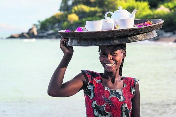 Breakfast arrives with a smile, whenever you want it at Kaya Mawa, Likoma island