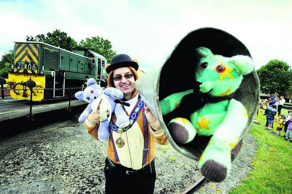 Oxford Mail: Mayor of Didcot Scott Wilgrove gets into the spirit of the teddy bears picnic