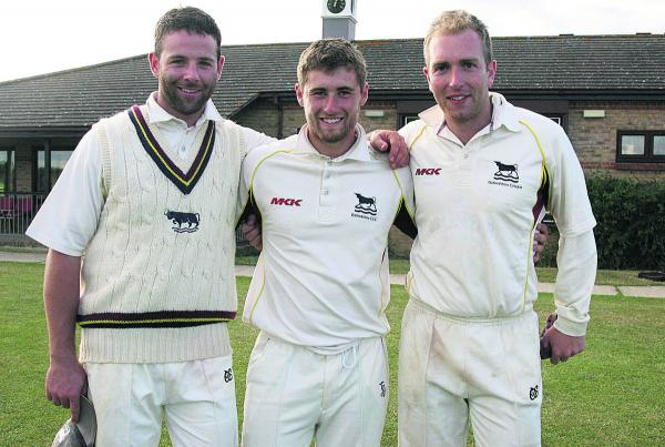 From left: Oxon skipper Luke Ryan, centurion Jonny Cater and spinner Richard West after beating Wiltshire     Picture: Steve Wheeler Order no: OX68543