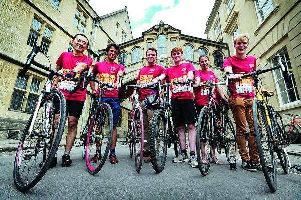 These students are part of a 70-strong group that will be setting off from Hertford College's Bridge of Sighs on Saturday to ride to its Venice counterpart. From left, Junnan Jiang, Nicholas Patni, Matt Brock, Alex Stronell, Anna Baskerville and Henry F