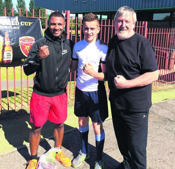 Nathan Hall with Kell Brook (left) and Windrush head coach Steve Setch