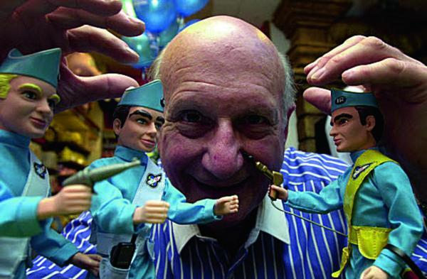 The late Gerry Anderson with some Thunderbirds toys