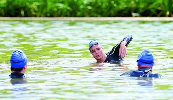 Olympic swimmer Keri-Anne Payne at Blenheim Palace giving an open water masterclass