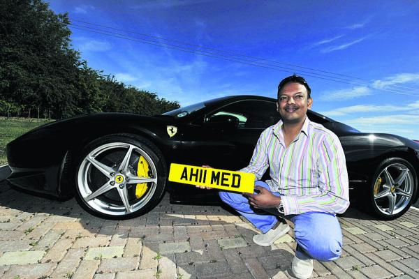 Farhan Ahmed paid £15,000 for the plate AH11MED for his Ferrari                        Picture: OX68662 Mark Hemsworth