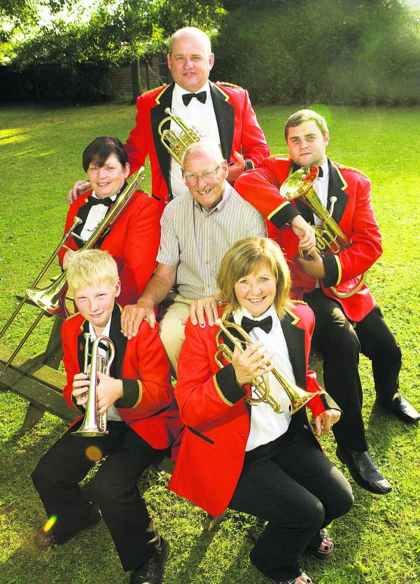 Members of Jubilee Brass Band. Back: Nigel Menbury. Middle: Linda Sadler, Ken Menbury and Matthew Toms. Front: William Menbury and Sandra Toms                            Picture: OX68711 Antony Moore