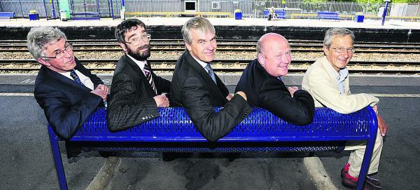 From left, Mike Hogg, First Great Western, David Sexton, Department for Transport; Simon Maple, Network Rail; Cllr Ian Hudspeth, leader of Oxfordshire County Council; and Cllr Bob Price, leader of Oxford City Council. Picture OX68831 David Fleming