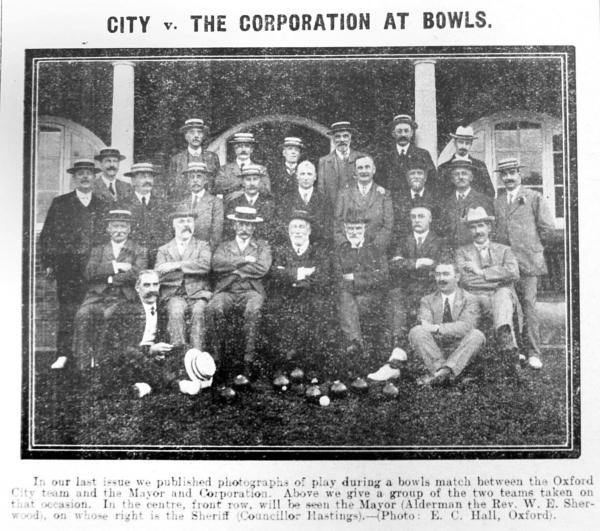 Bowls: The Oxford City and Oxford Corporation bowls teams who competed in July 1914 – the mayor, Alderman the Rev W E Sherwood, is in the centre of the front row