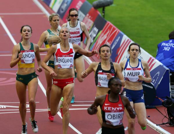 Hannah England (second left) crosses the line in fourth to qualify for tonight's 1500m final, with Kenya's Hellen Obiri taking victory
