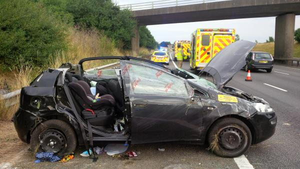 The scene of the crash on the M40 yesterday