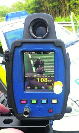 Caught: A police device shows the motorcyclist's speed during the A4074 check near Berinsfield