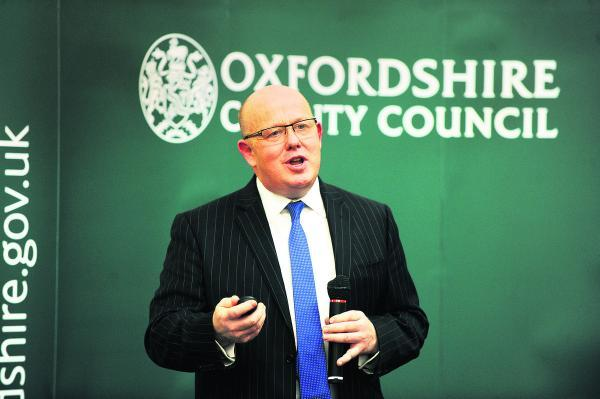 Oxfordshire County Council leader Ian Hudspeth gives a presentation at County Hall in April at the launch of the council's 'Connecting Oxf