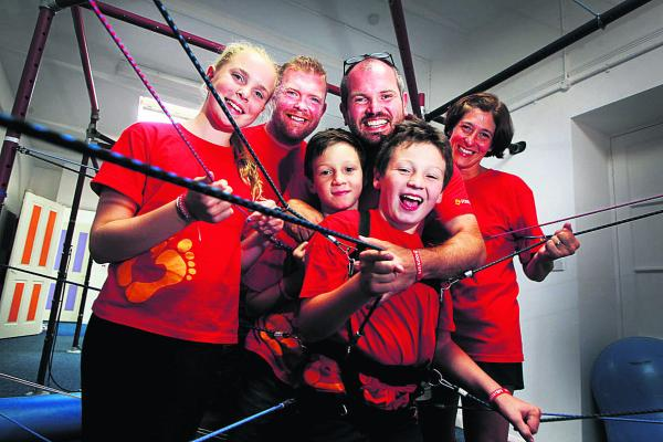 From left, Molly May McAndrew, 10, Nick McAndrew, William Ryan, nine, Christian Ryan with his son Peter Ryan, nine, and Cath Brown