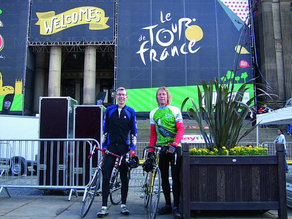 Martin Bate, left, from Witney and his brother-in-law Peter Lemmey, from Yeovil, cycled this year's Tour de France route, beginning in Leeds, ahead of the professional competitors