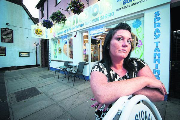 Manager Sarah Gallagher outside the tanning salon