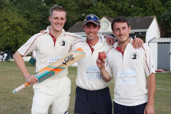 Great & Little Tew skjipper Andy Harris (centre) is flanked by top-scorer Ashley Hubbert (left) and match-winning bowler Lloyd Brock