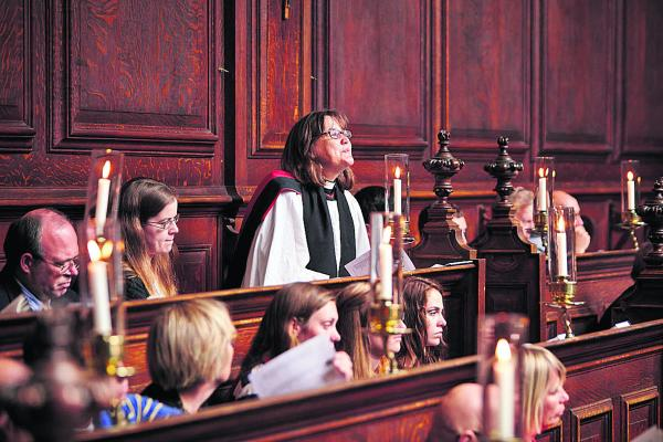 TRIBUTE: The Rev Dr Emma Percy, centre, who led the service at Trinity College Chapel