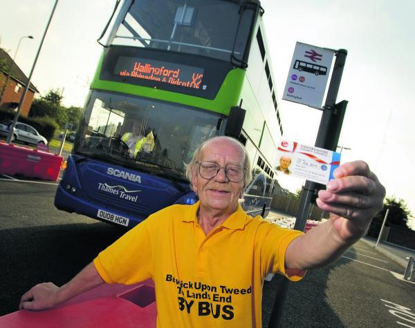 Alan Gurr, delighted having completed his grand north-south bus ride.   Picture: OX68981 Antony Moore