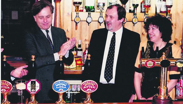 Keith and Marilyn Heritage on the opening day of The Brewery Tap pictured with John Patten MP, left