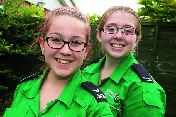 Lauryn Durnall, 14, left, with her sister, Rebekah, 16, who are both members of the St John Ambulance in Wantage	                             Picture: OX69071 Damian Halliwell