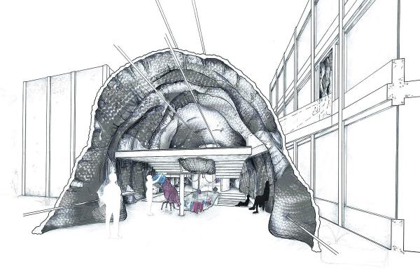 The knitted buildings concept drawn up by Oxford Brookes University undergraduate Will Field