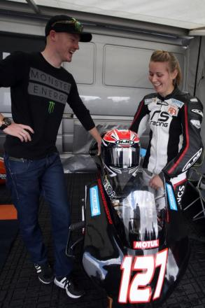 Talking bikes with Georgina Polden in the garage ahead of her race at Thruxton