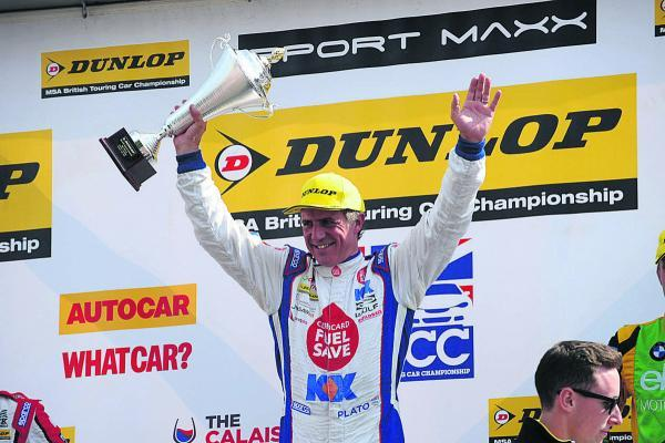 Jason Plato celebrates his first victory at Snetterton