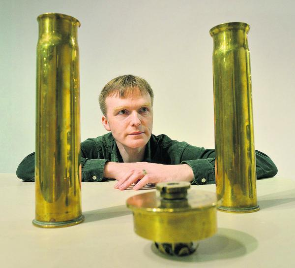 Dale Johnston with First World War shell casings