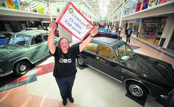 Convoy: Cowley Classic Car Rally organiser Tanya Field with cars on show at Templars Square