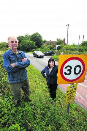 John Hudson and Jenny Hannaby want traffic-calming measures in Ickleton Road