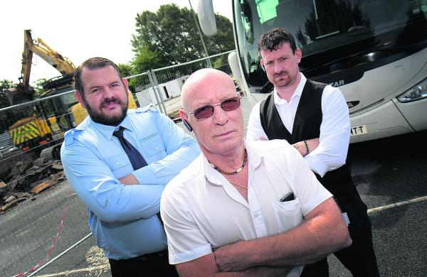 From left, coach drivers Alan Badrick, Alfie Buckley and Phil Tift say preparations for the Westgate redevelopment are making parking difficult
