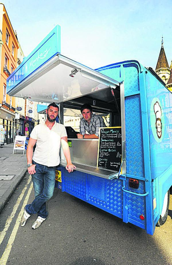 Tim Chapple, left, and Matt Barlow with their Goujon Monkey Fish & Chip van in Broad Street