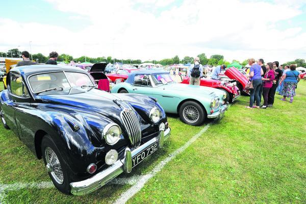 Visitors admire some of the 250 classic cars on show. Pictures OX69309