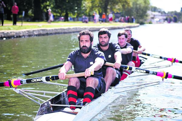 Fred Hersch, front, and his Oxford Academicals team mates on the start line at the Oxford City Royal Regatta