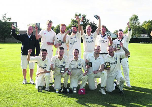Hanborough celebrate their comprehensive final victory over Bampton  Picture: Steve Wheeler